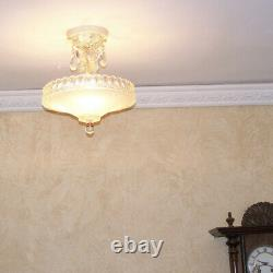 132b Vintage Antique Ceiling Light Glass lamp Shade fixture chandelier crystals