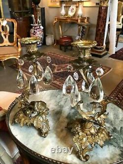 19th Century French Bronze & Crystal Drop Candle Holders with Antique Half Shades