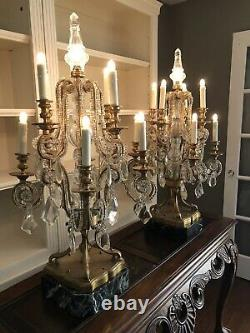 19th Century French Bronze and Crystal Girandoles Candelabras (Set of TWO)