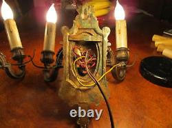 2 1890's-1910 BRONZE VICTORIAN SCONCES BLANK GAS CASTINGS CLEANED ELECTRIFIED