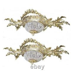 2 Antique Replica Crystal Chains Gilded Brass European Flush Mount Chandeliers