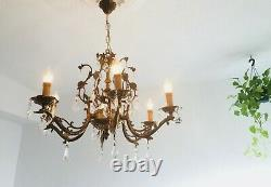 28 Authentic 6-Light Antique Bronze Crystal Chandelier Spanish French