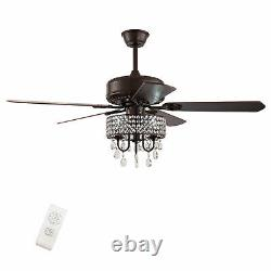 3-Light Fandelier with Remote Crystal LED Ceiling Fan 52 Oil Rubbed Bronze -Home