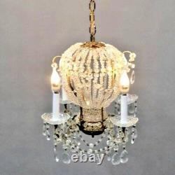 50's MAISON BAGUES style HOT AIR BALLOON/ CUT CRYSTAL BEADED/ BRONZE CHANDELIER