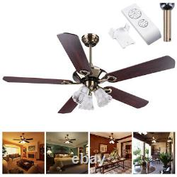 52 5 Blades Ceiling Fan with Light Kit Antique Bronze Reversible Remote Control