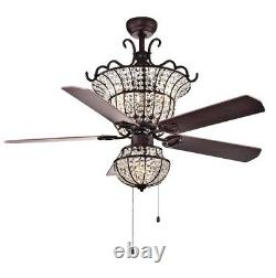 52 Inch Crystal Ceiling Fan Light Pull Rope Chandelier Silent Reversible Blades