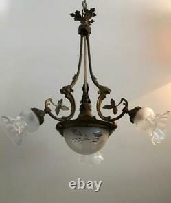 ANTIQUE FRENCH NEO- GOTHIC BRONZE GRIFFIN LION w CRYSTAL SHADES CHANDELIER LAMP