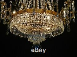 ANTIQUE French Ballroom Crystal 10 Arm 15 Lite Chandelier 35W x 42 T (3 Avail)