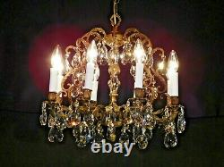 ANTIQUE French EXTRA FUSSY Bronze 8 Lite Cut Lead Crystal Birdcage Chandelier