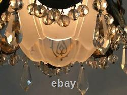 ANTIQUE VTG BRONZE FRENCH BOW PETITE TINY CHANDELIER SWAG LAMP w CRYSTAL & GLASS