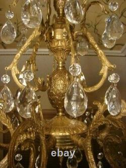 Amazing Antique French Brass Bronze & Crystal Double Pineapple Chandelier