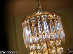 Antique 1920 Heavy gold Bronze French Empire Chandelier RARE 9 lights crystals