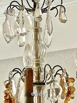 Antique Baccarat Bronze Chandelier Crystal Prisms Purple Amber Clear Grapes