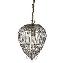 Antique Brass Ceiling Pendant Light Fitting Lighting With Crystal Glass Buttons