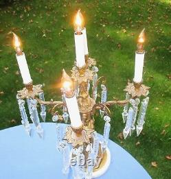 Antique Bronze and Crystal Five Candle Electrified Table Candelabra Lamp