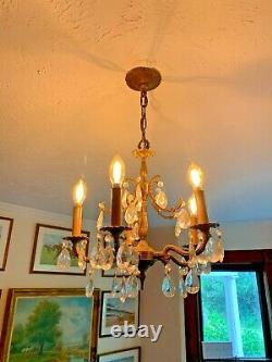 Antique Chandelier Early 20th C Spanish Spain Crystals Solid Brass/Bronze WOW