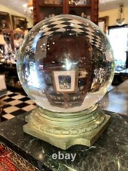 Antique Classical Bronze Pediment Crystal Ball Oracle Paranormal Huge 10 1/2
