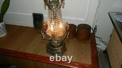Antique Exquisite Pair French Bronze Crystal Candelabra Lamp 41 Tall