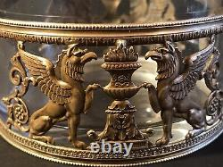 Antique First Empire Bronze & Crystal Jewelry Box/ France C. 1830/ Eagle/ Winged