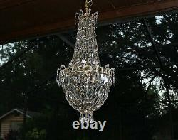Antique French 19th Century Empire style large crystal chandelier bag basket