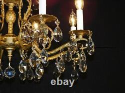 Antique French Brass DORE Lead Crystal Pineapple Chandelier 2 Available