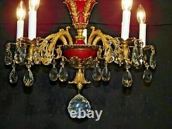 Antique French Brass Dore 5 Arm 5 Lite OXBLOOD Empire Lead Crystal Chandelier