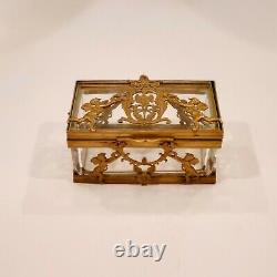 Antique French Bronze & Crystal Casket Box