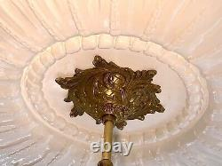 Antique French Bronze Crystal Chandelier w Cut Crystal Prisms Lamp Light Fixture
