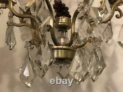 Antique French Bronze Crystal Girandoles Chandelier Large Fruit Glass Grapes
