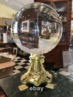 Antique French Bronze Pedestal Crystal Ball Oracle Paranormal