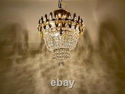 Antique French Chandelier, Vintage Chandelier Brass &Crystal Ceiling Lamp Fixture