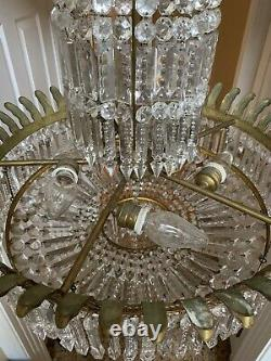 Antique French Empire Bronze Crystal Beaded Basket Chandelier Spear Head Lustres