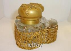 Antique French Gilt Brass or Bronze Ormolu Cut Crystal Double Inkwell Baccarat
