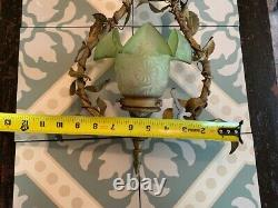 Antique French Gilt bronze petite chandelier pendant lamp with Green Glass Shade