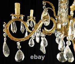 Antique French Louis XV style bronze and glass chandelier. (1125)