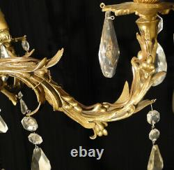 Antique French Louis XV style solid bronze and glass chandelier