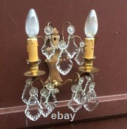 Antique French crystal Wall Sconce prisms gilded Glass bronze 2 Arm light wall