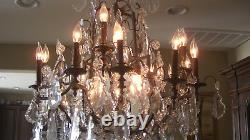 Antique Large French Bronze & Cut Crystal Twenty-Two Light Exquisite Chandelier
