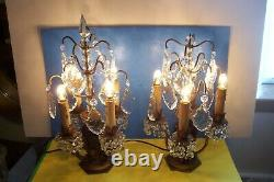 Antique Pair Of French Girandole Chandelier Candelabra Table Lamps, L-f 124