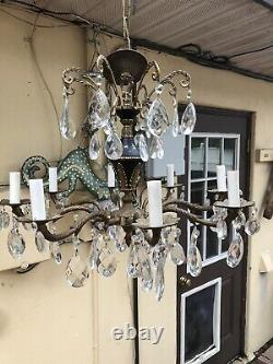 Antique Pineapple Brass Crystal Prism Spanish Chandelier 8 Arm Lovely