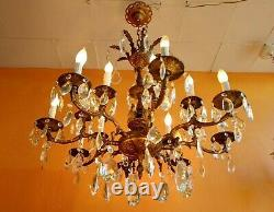 Antique Victorian French Bronze 16 light 8 arm Crystal Chandelier