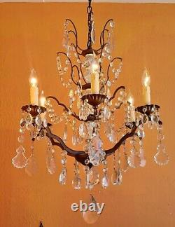 Antique Victorian French Bronze and Bacarat Crystals 6 Lights Chandelier