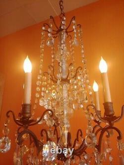 Antique Victorian French Bronze and Bacarat type Crystals 5 Lights Chandelier