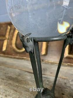 Antique Vintage Crystal Ball Fortune Teller Bronze Goat Head Hoof Stand Occult