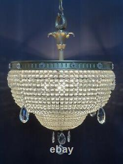 Antique Vintage French Empire Victorian Crystal Beaded Basket Chandelier