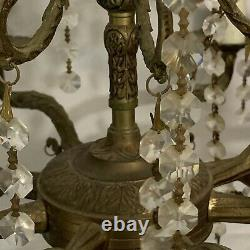 Antique Vintage French Spanish 8 Arm 8 Light Crystals Brass Swag Chandelier