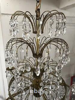 Antique Waterfall Crystal prism Layered Chandelier Russian Baltic
