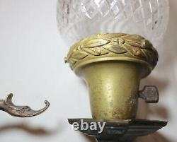 Antique elaborate cut crystal bronze brass figural griffin electric wall sconce
