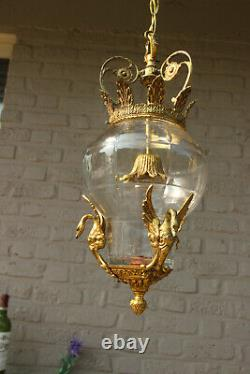Antique french Empire LAntern chandelier bronze swans crystal glass body rare
