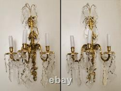 Antique french Louis XV style bronze and crystal pair of sconces (1385)